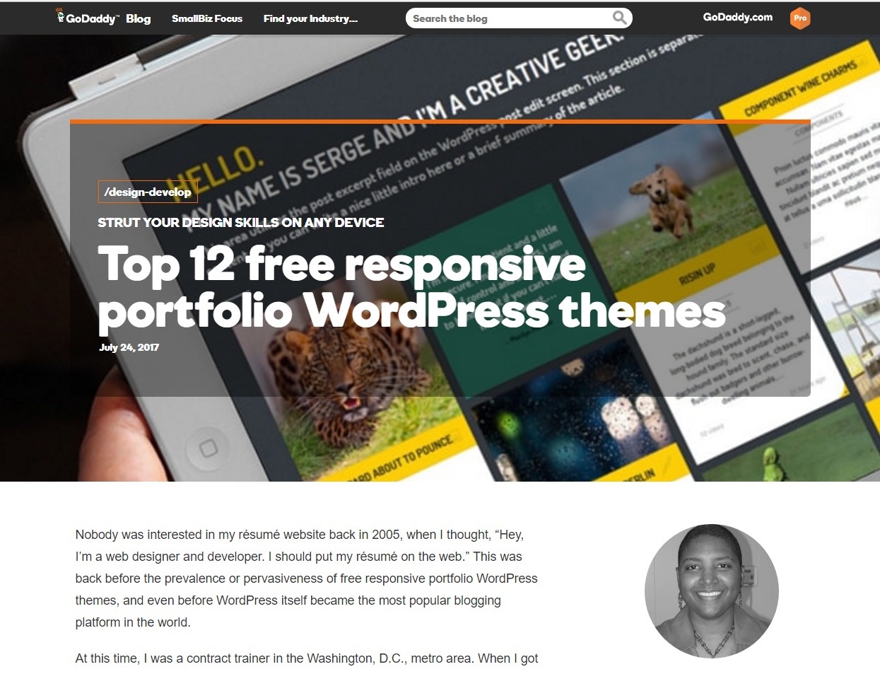 GoDaddy Blog: Top 12 free responsive portfolio WordPress themes by Faydra Deon